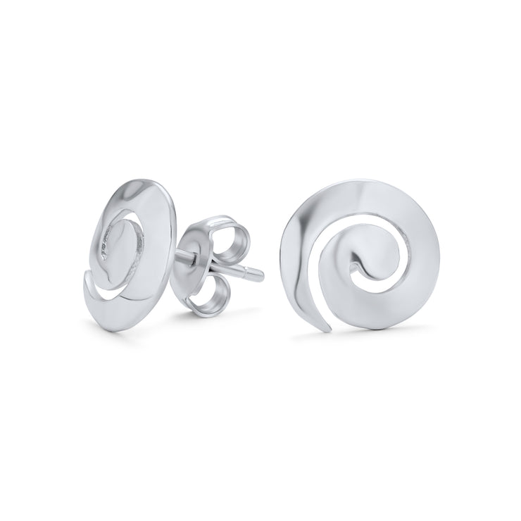 Hammered Round Spiral Swirl Small Stud Earrings 925 Sterling Silver