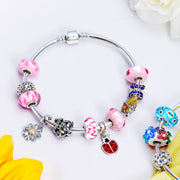 White Pink Murano Glass Bead Charm Bundle Set 925 Sterling Silver