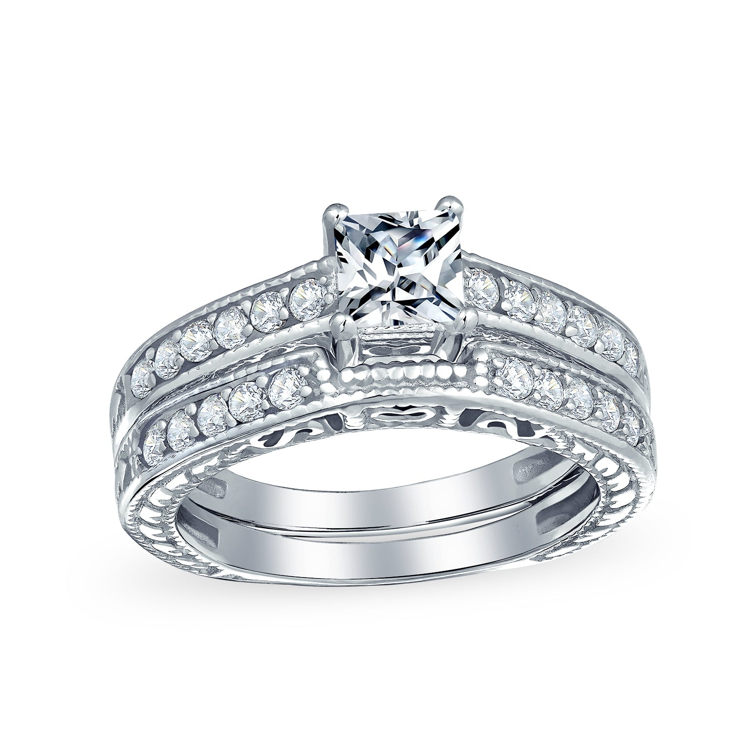 Personalized Stainless Steel Celtic Infinity Ring with Prong Set CZ