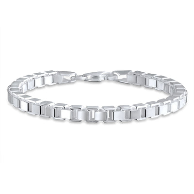 Square Venetian Mirror Box Link Chain Bracelet 925 Sterling Silver