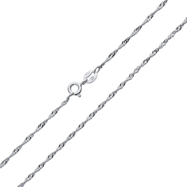 Singapore Rope Chain 020 Gauge Necklace 925 Sterling Silver Italian