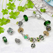 Celtic Knot Claddagh Clover Murano Glass Bead Charm Bundle Set Silver