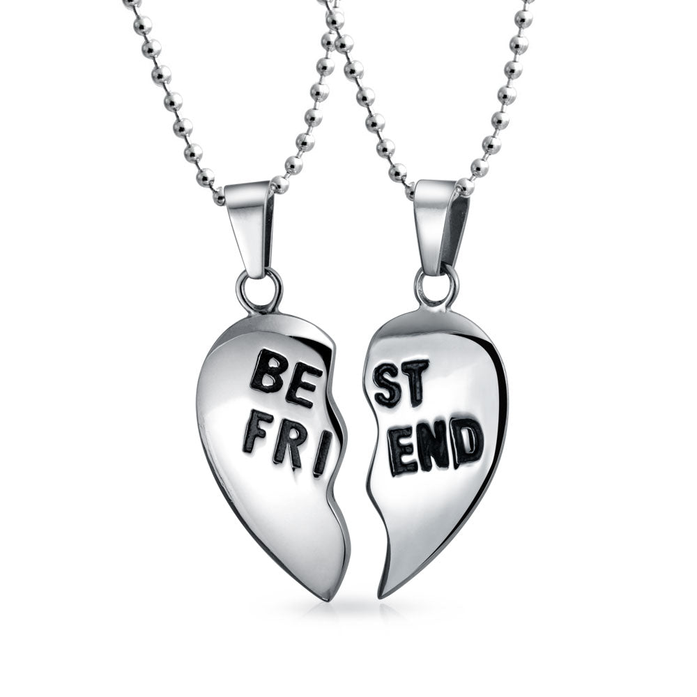Choose Letters Best Friends Split Heart Personalized Necklaces add Birthstones Silver plated