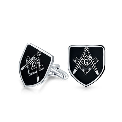 Freemasons Masonic Compass Shield Cufflinks Black Stainless Steel