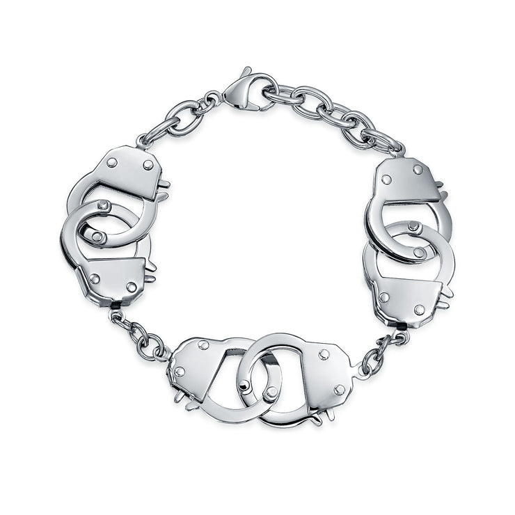Handcuff BFF Partners in Crime Stainless Steel Curb Chain Bracelet