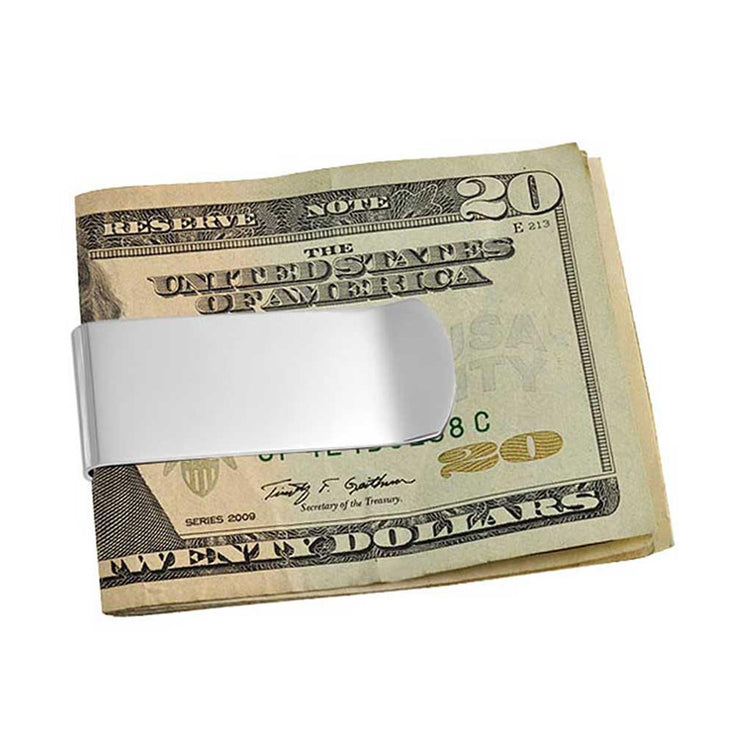 Money Clip Plain Engravable Credit Card Silver Tone Stainless Steel
