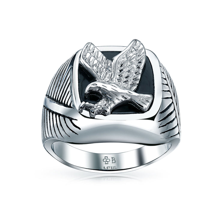 Mens Patriotic USA American Bald Eagle Signet Ring Stainless Steel