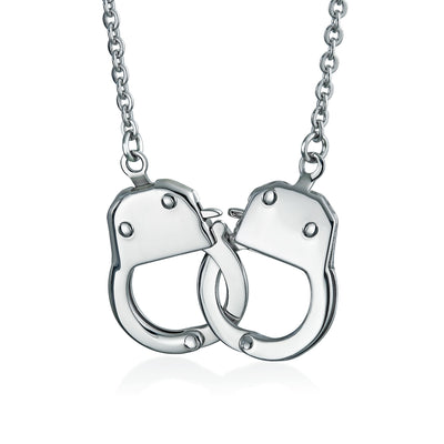 Handcuff Necklace Lock Partners in Crime Stainless Steel Pendant