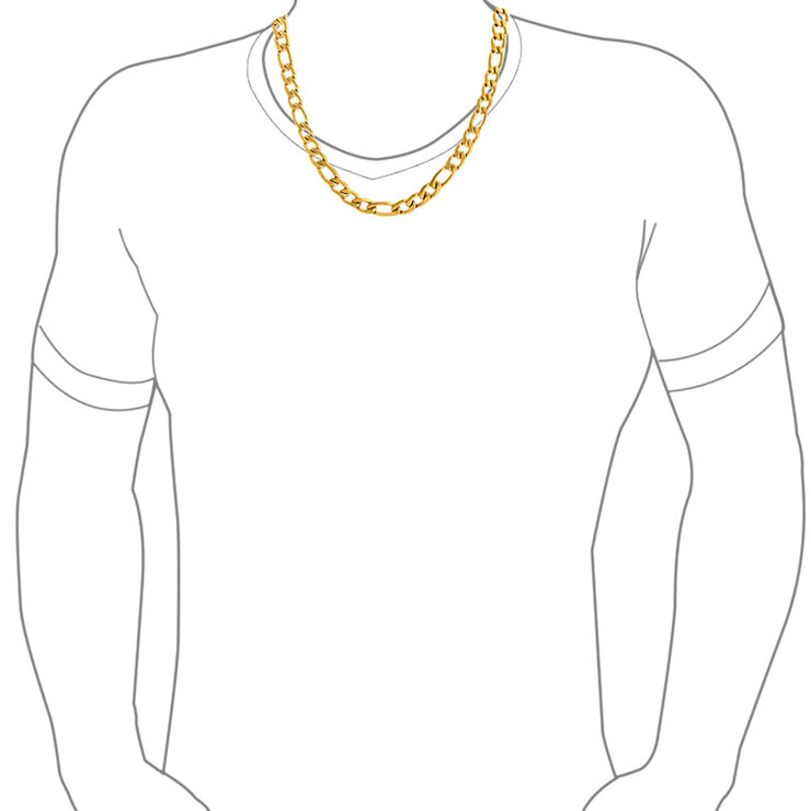 11MM Gold Tone Stainless Steel Necklace Figaro Chain Men Medium Width