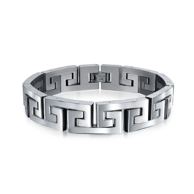 Fancy Greek Key Wristband Bracelet Men Silver Tone Stainless Steel