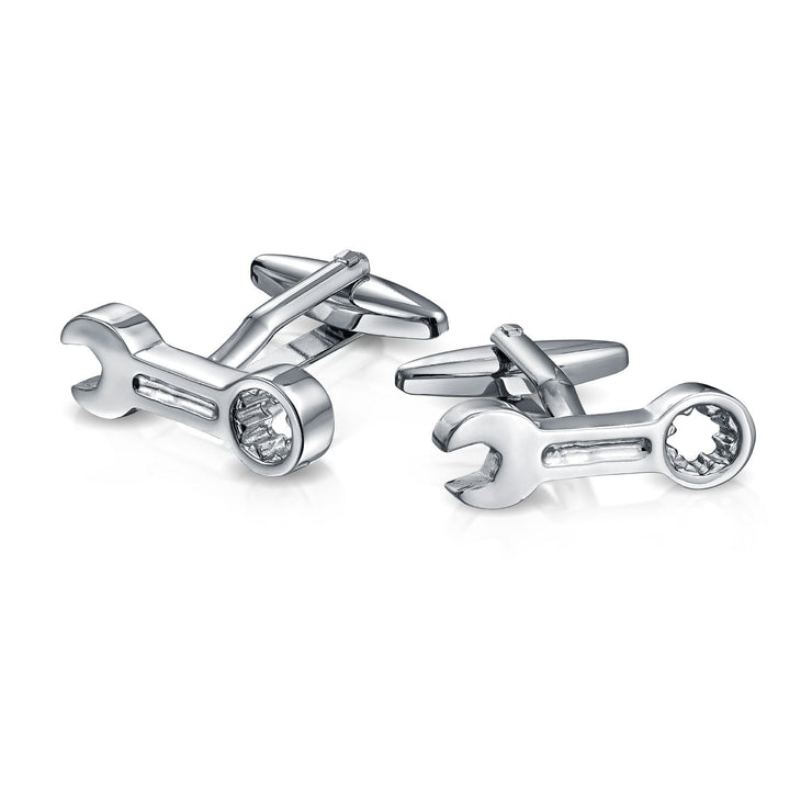 Construction Mechanics Wrench Cufflinks Silver Tone Stainless Steel