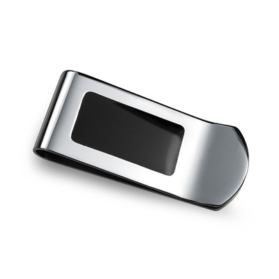 Two Tone Black Enamel Engravable Money Clip Credit Card Holder Steel