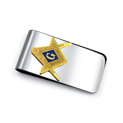Freemasons Masonic Compass Symbol Money Clip Card Holder Two Tone Gold