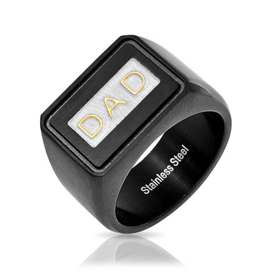 Mens DAD Word Black Band Square Signet Ring Stainless Steel Father day