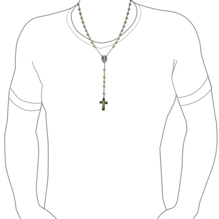 Virgin Mary Rosary Ball Jesus Crucifix Necklace Gold Stainless Steel