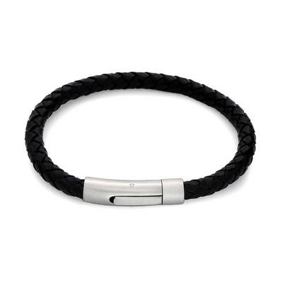 Black Woven Braided Leather Bangle Bracelet Stainless Magnetic Buckle