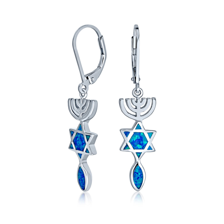 Star of David Je Created Blue Opal Dangle Earrings Sterling Silver