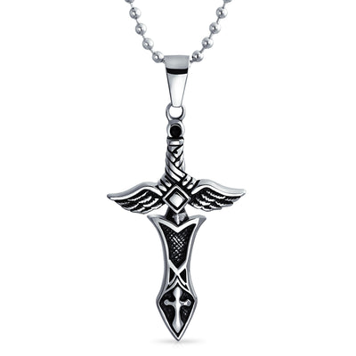 Men Cross Angel Wings Sword Black Stainless Steel Pendant a Ball Chain