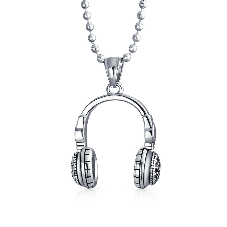 Headphones Pendant Hip Hop Music Lover DJ Necklace Stainless Steel