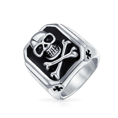 Mens Caribbean Pirate Skull Cross Bones Signet Ring Stainless Steel