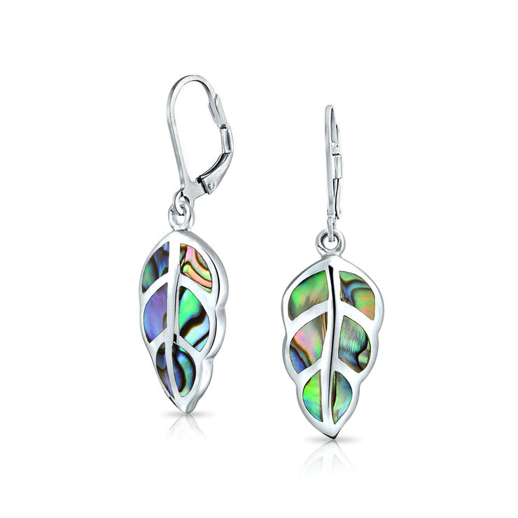 Abalone Gemstone Leaf Drop Dangle Leverback Earrings Sterling Silver