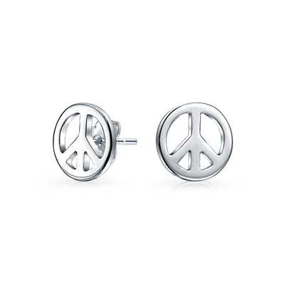 Tiny World Peace Symbol Stud Earrings For Women 925 Sterling Silver