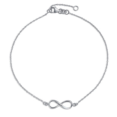 Infinity Figure Eight love Knot Charm Anklet Link Sterling Silver