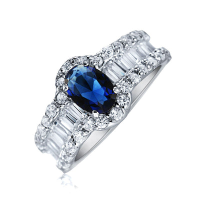 Oval Solitaire Halo Blue CZ Engagement Ring 925 Sterling Silver