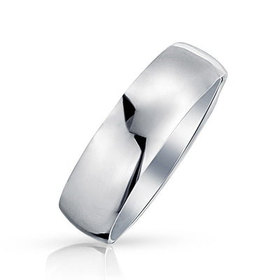 Plain Simple 925 Sterling Silver Dome Couples Wedding Band Ring 7MM