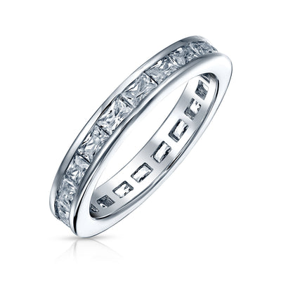 Channel Princess Cut CZ Wedding Band Eternity Ring 925 Sterling Silver