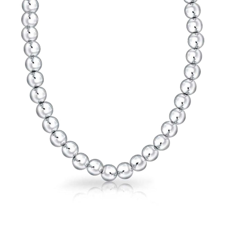 8MM High Ball Bead Strand 925 Sterling Silver Necklace 16 In 18 In