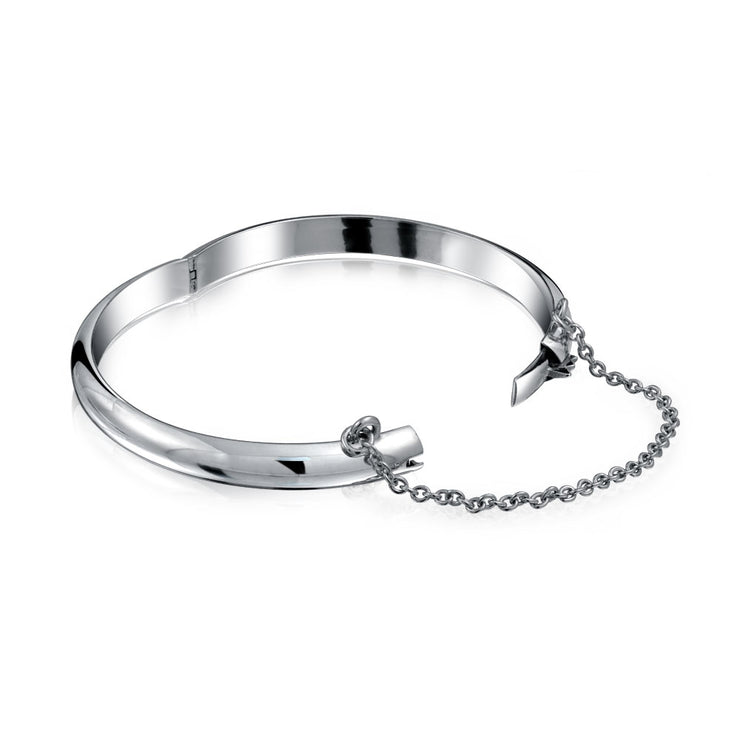 Dome Bangle Bracelet Small Wrists 5 Inch Shinny Chain Sterling Silver