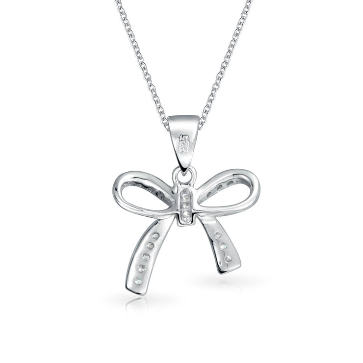 Bow Pendant Pave Cubic Zirconia CZ Pendant Necklace Sterling Silver