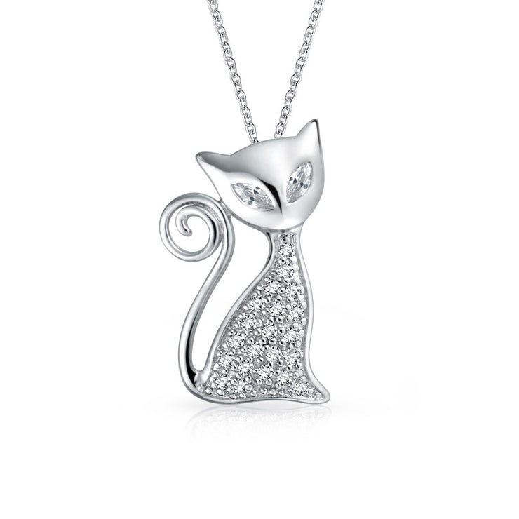 Curious Kitty Kitten Cat Pendant CZ Pet Necklace 925 Sterling Silver
