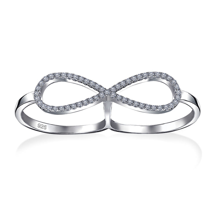 Boho CZ Pave Infinity Two Finger Ring 925 Sterling Silver