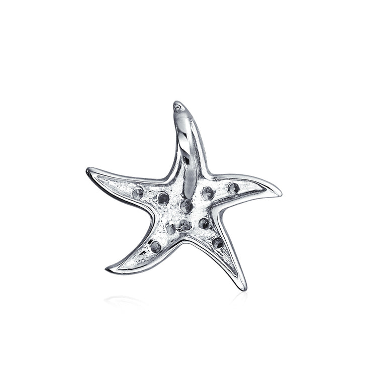 Starfish Pendant Necklace Dancing Pave Cubic Zirconia CZ Silver Chain