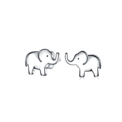 Lover Good Luck Wise Elephant Stud Earrings 925 Sterling Silver