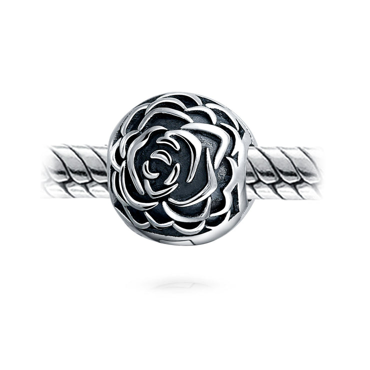 Rose Bloom Floral Stopper Bead Charm Sterling Silver Snap Bracelet