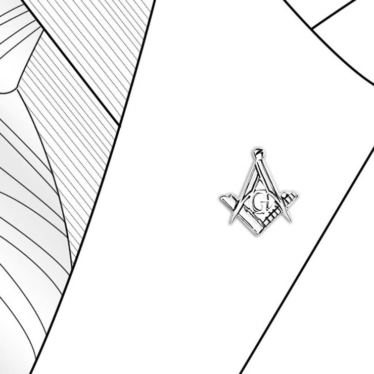 Freemasons Masonic Compass Lapel Pin Apprentice Square Sterling Silver