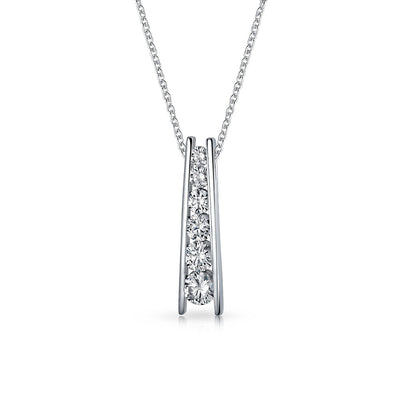 Solitaire CZ Graduated CZ Journey Bar Pendant Necklace Sterling Silver