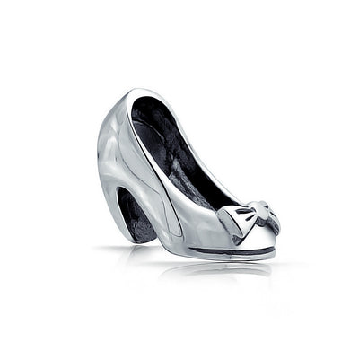 Ladies Heel Pump Shoe Stiletto Dance Charm Bead 925 Sterling Silver
