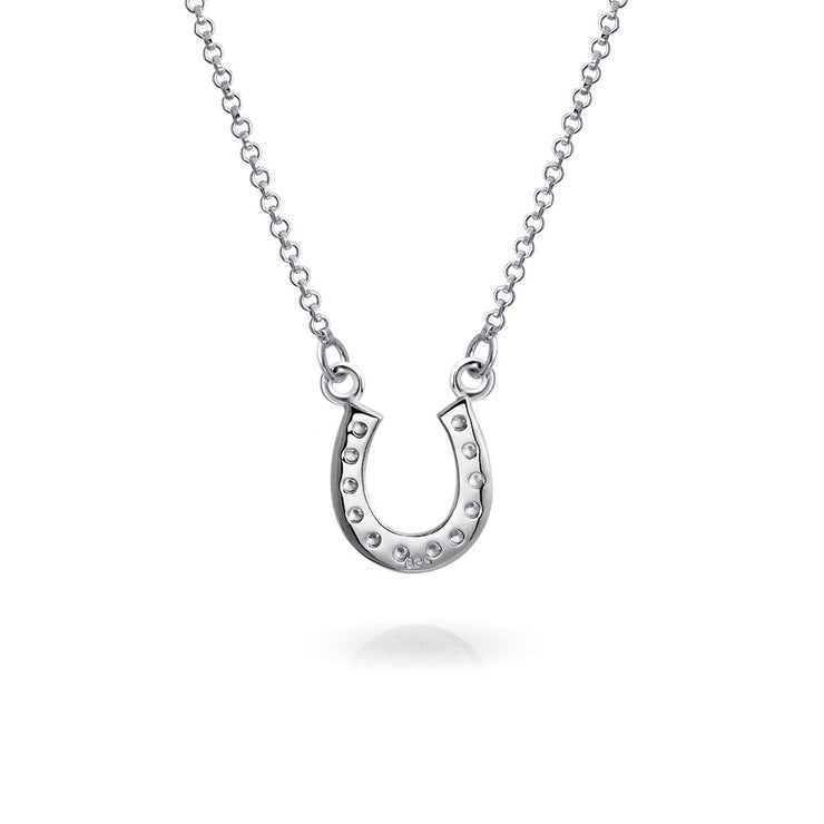 Horseshoe Pendant Pave CZ Equestrian Good Luck Necklace 925 Silver