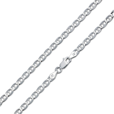 Solid Flat Mariner Anchor Chain 080 Gauge Necklace Sterling Silver