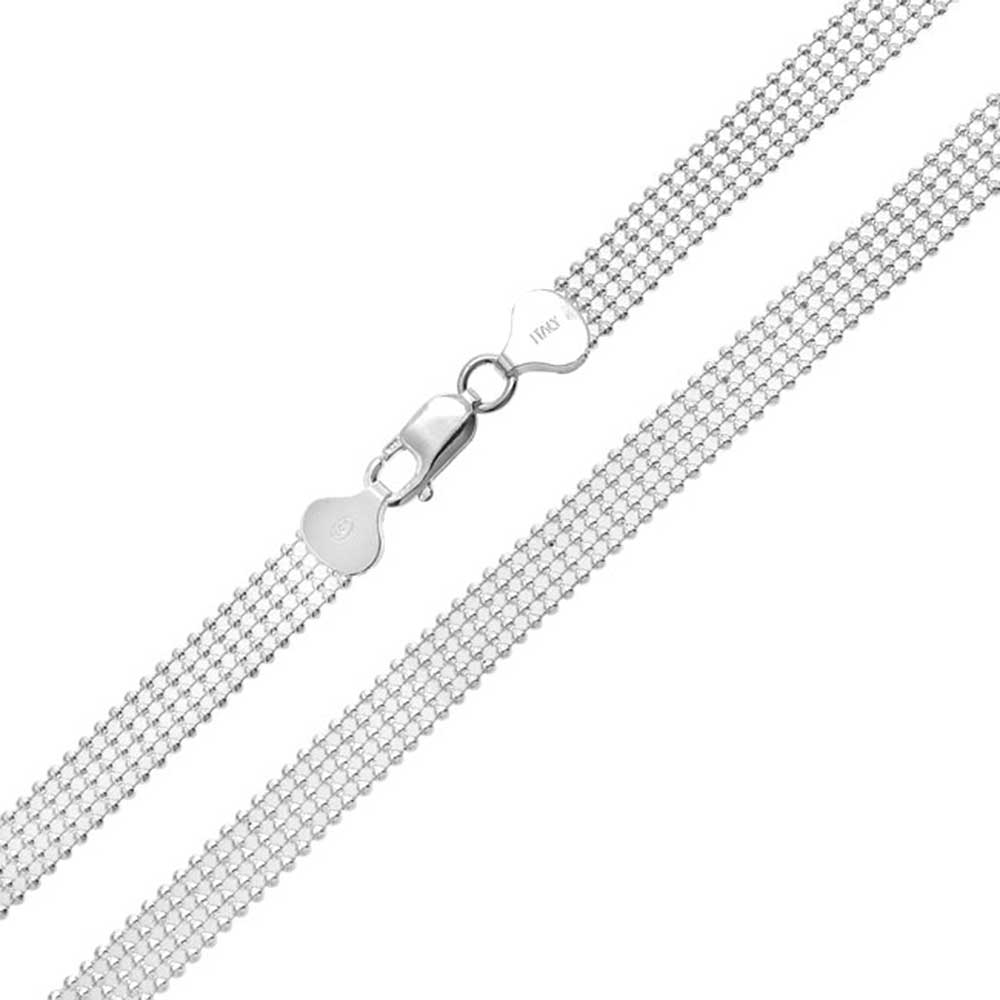 925 Sterling Silver Polished Bead Fancy Link Necklace 16 Length