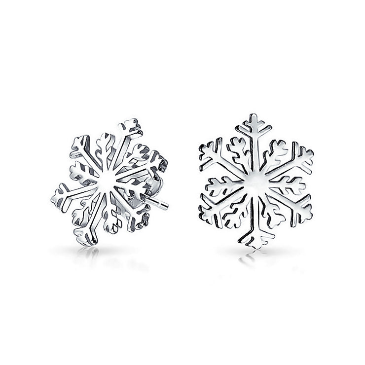 Christmas Winter Holiday Snowflake Stud Earrings 925 Sterling Silver