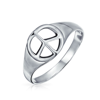 925 Sterling Silver Wide Open Symbol World Peace Sign Signet Ring