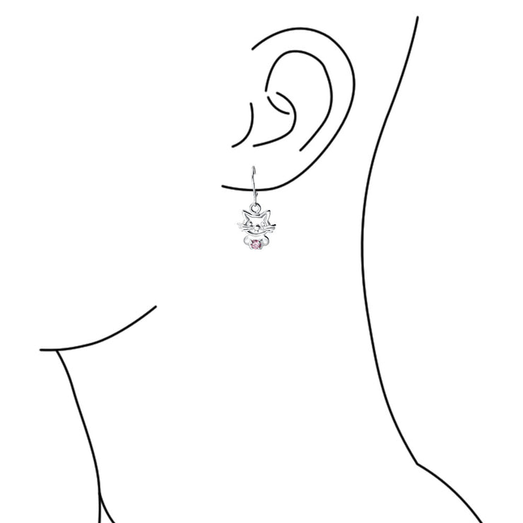 Kitten Pink Cubic Zirconia Leverback Cat Earrings 925 Sterling Silver