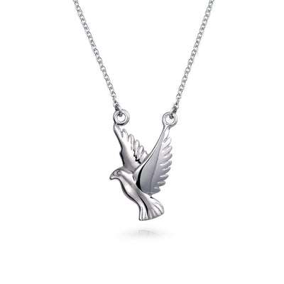 Peace Dove Faith Bird Pendant Necklace 925 Sterling Silver Chain