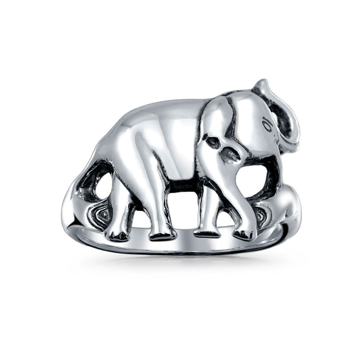 Good Luck Zoo Animal Elephant Ring Oxidized 925 Sterling Silver
