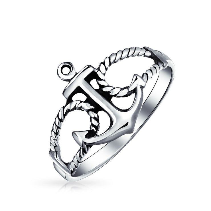 Sailor Boat Lover Sea Ocean Rope Open 925 Sterling Silver Anchor Ring